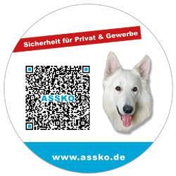 Werbung mit QC-Code und integriertem Logofür den Fahrradständer von Assko Sicherheitstechnik in Warburg von Schira-Design (Kassel).