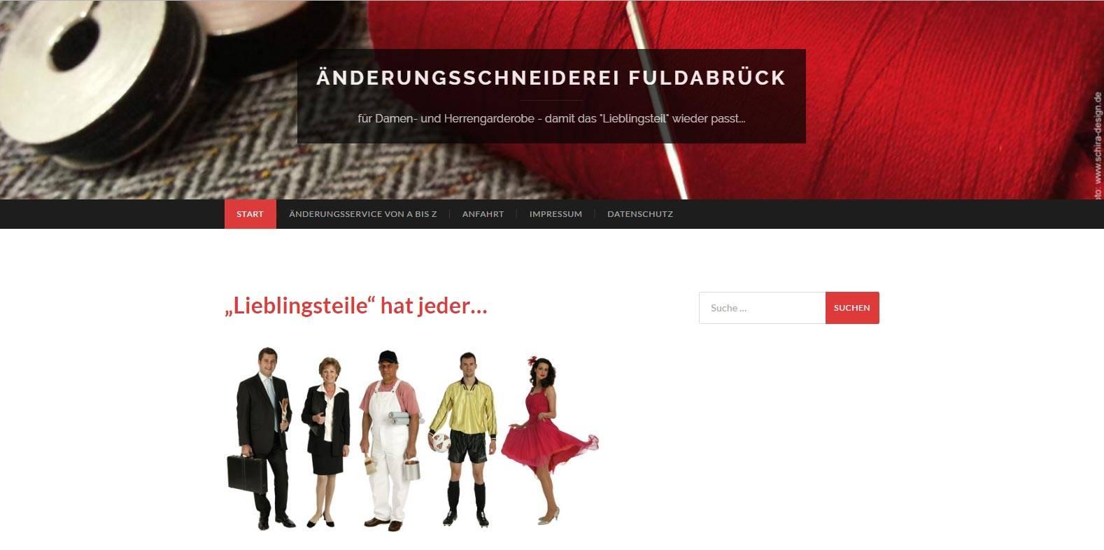 Homepage und Webdesign von Schira-Design Kassel für die Änderungsschneiderei Fuldabrück