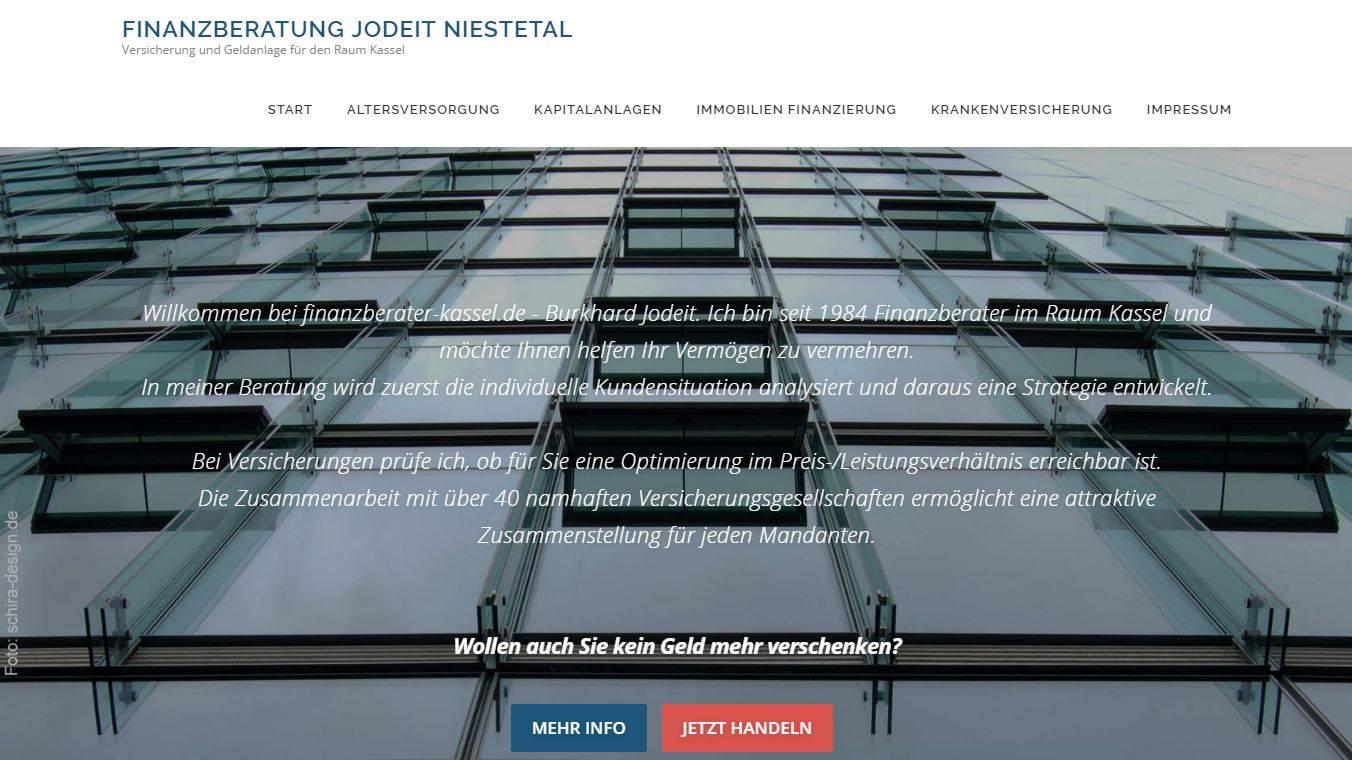 Wordpress Homepage Finanzberater-Kassel.de | Burkhard Jodeit, erstellt von Schira-Design Kassel
